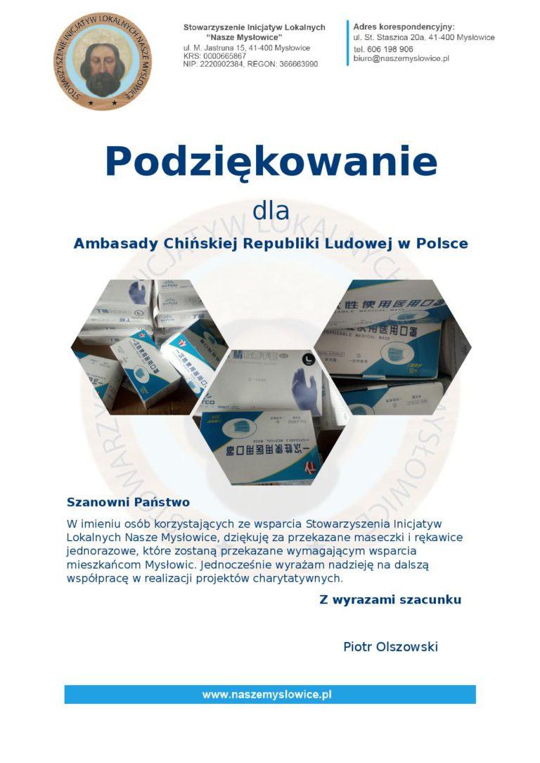 Podziękowanie dla  Ambasady Chińskiej Republiki Ludowej w Polsce